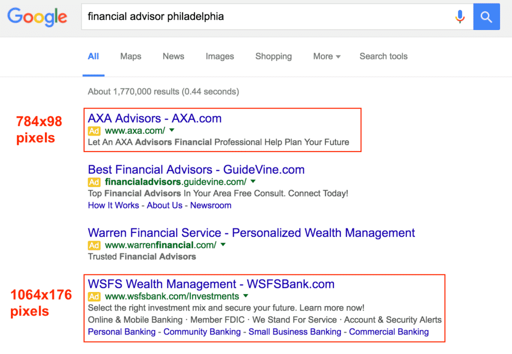 SERPs for Philadelphia Financial Advisor